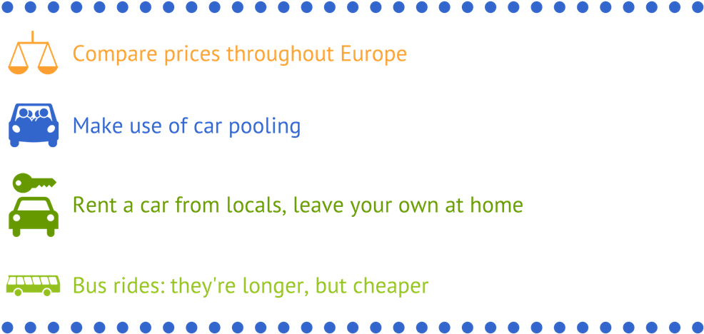 Infographic listing four hints about traveling to France cheap